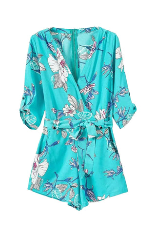 'Kunis' Plunged Floral Printed Turquoise Romper - Goodnight Macaroon