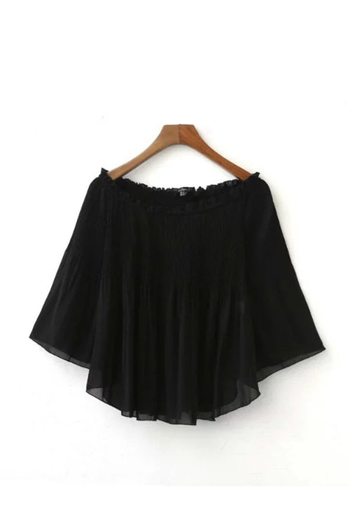 'Nadine' Chiffon Crinkled Sheer Off Shoulder Pleated Top