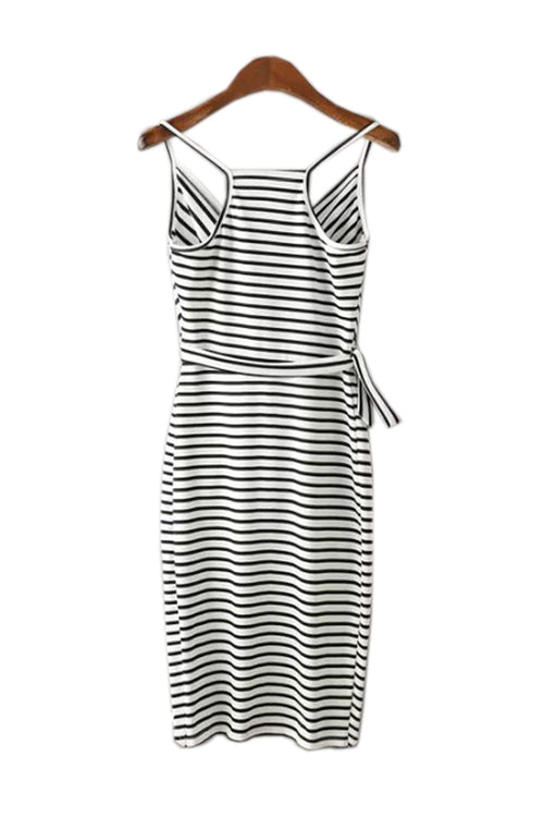 Goodnight Macaroon  'Stewart' Black-and-White Stripped Dress