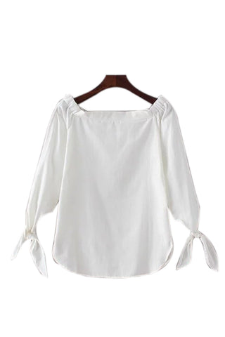 'Lindsay' Off Shoulder Shirt Material Top - Goodnight Macaroon