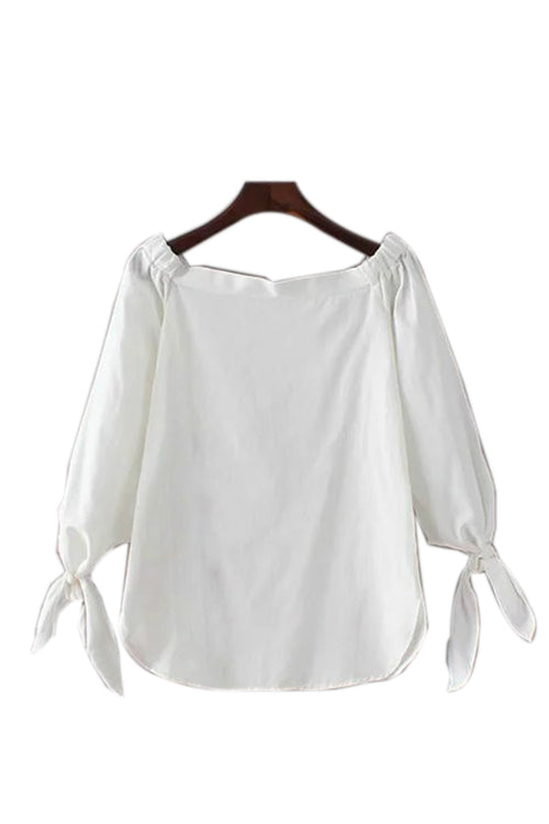 'Lindsay' Off Shoulder Shirt Material Top