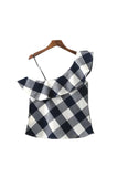 Goodnight Macaroon 'Bess' One Sided Shoulder Gingham Top