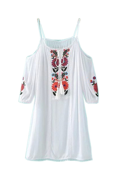 Goodnight Macaroon Kristen' Cut Out Shoulder Embroidered White Dress