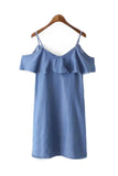 Goodnight Macaroon 'Susie' Denim Off The Shoulder Dress