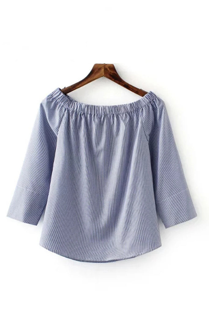 'Christine' Pinstriped Off Shoulder Shirt Top - Goodnight Macaroon