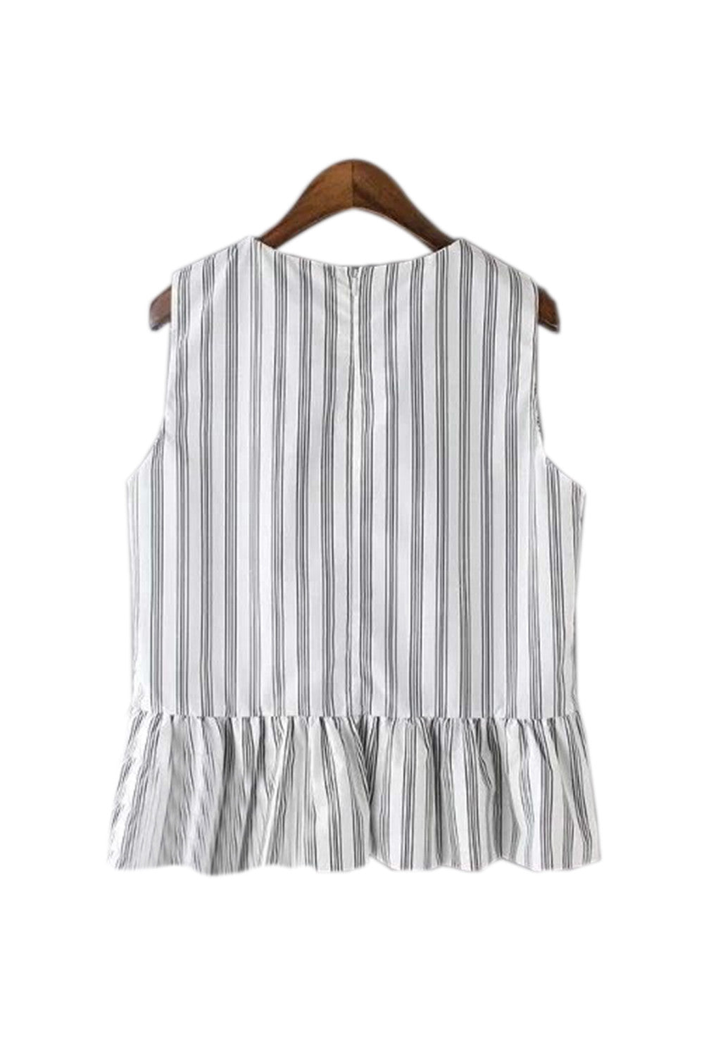 Goodnight Macaroon 'Jade' Sleeveless Pinstripe Peplum Top
