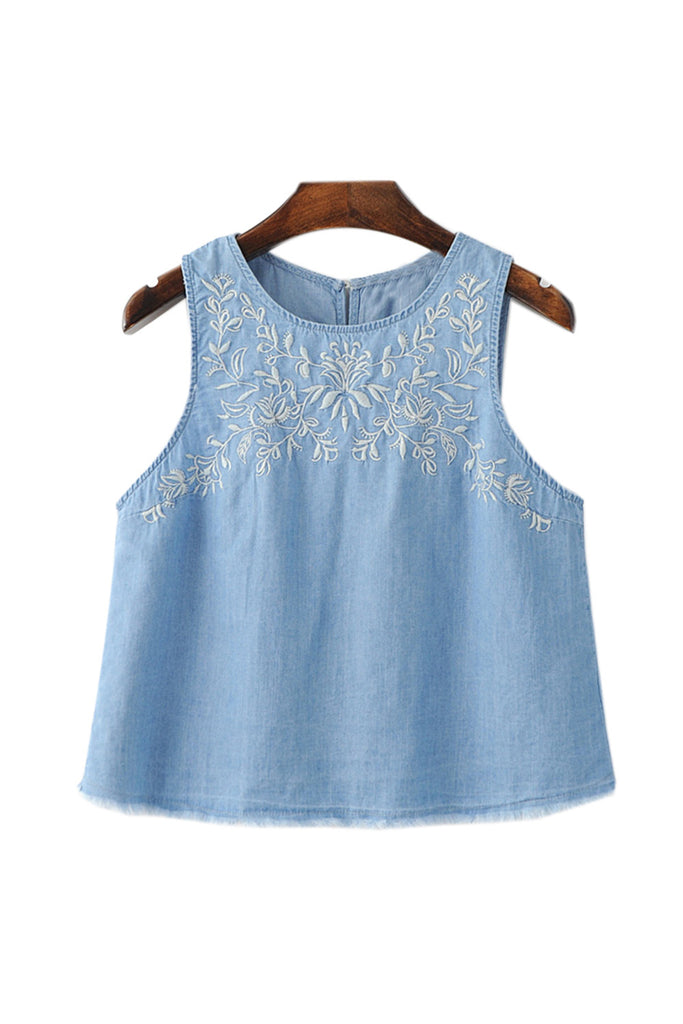 Goodnight Macaroon 'Jennifer' Chambray Embroidered Tank Top