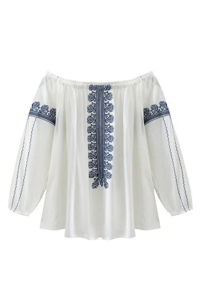 Goodnight Macaroon 'Michelle' Off The Shoulder Embroidered White Top
