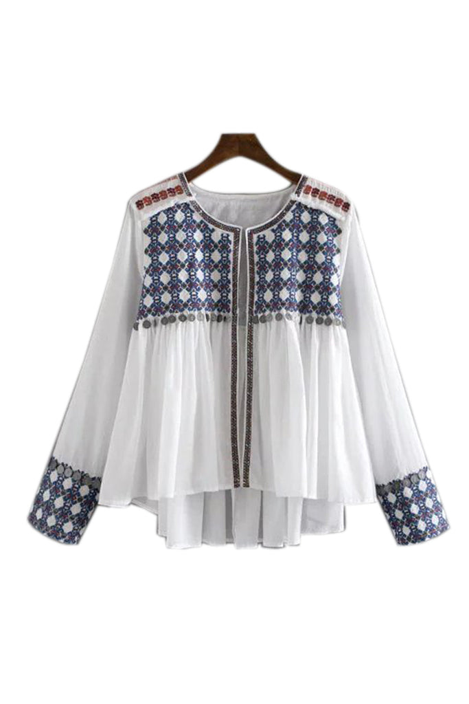 Goodnight Macaroon 'Macy' Boho Embroidered Blouse