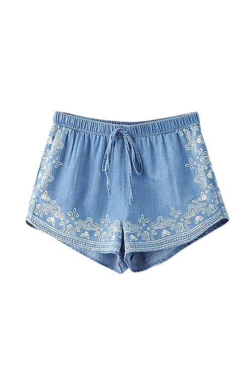 'Elaina' Embroidered Pull-on Shorts - Goodnight Macaroon