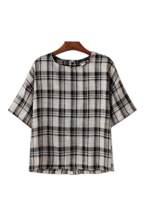 'Uma' Gingham Plaid Top - Goodnight Macaroon