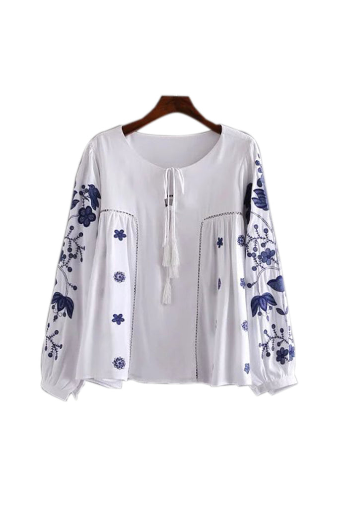 Goodnight Macaroon 'Becky' Porcelain Embroidered Top