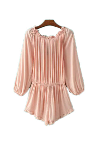 Goodnight Macaroon 'Zita' Off The Shoulder Long Sleeved Romper