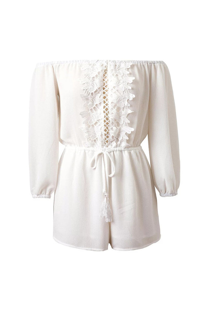 Goodnight Macaroon 'Liv' White Lace Off The Shoulder Romper