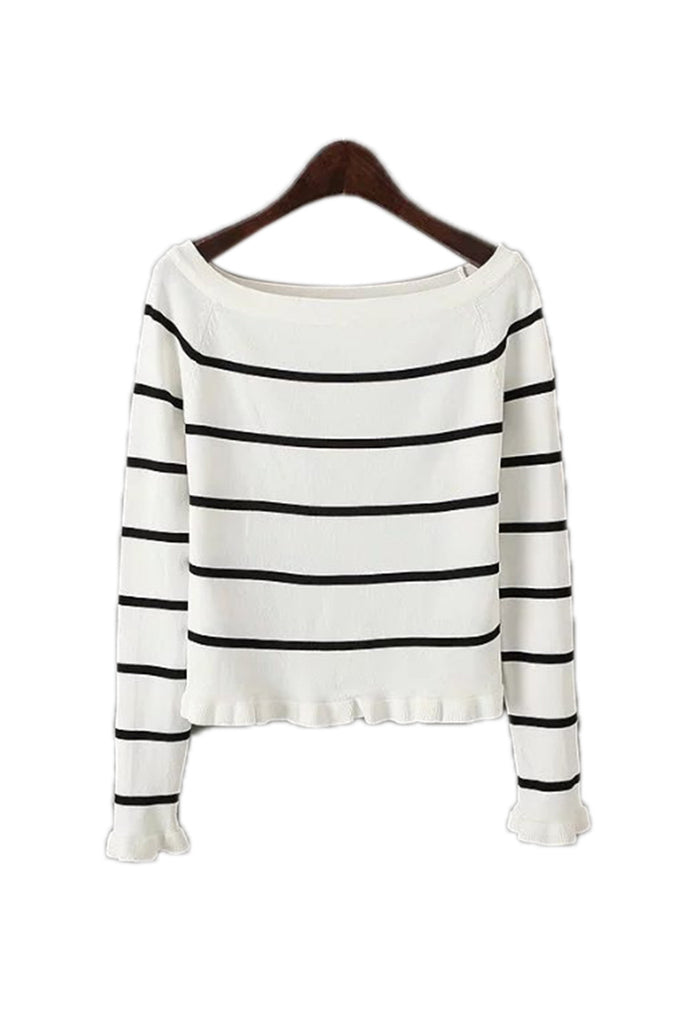 Goodnight Macaroon 'Vicky' Off The Shoulder Stripe Sweater