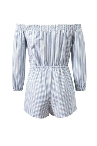 'Vanessa' Off Shoulder Nautical Striped Romper - Goodnight Macaroon