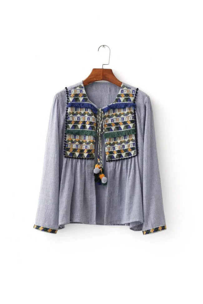 Goodnight Macaroon 'Scout' Embroidered Pom Pom Jacket