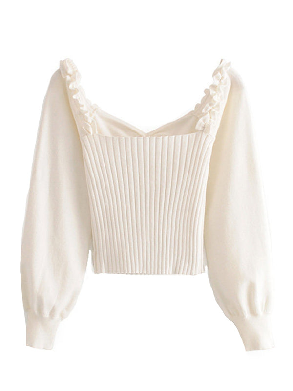 'Eunice' White Bow Ribbed Sweaters