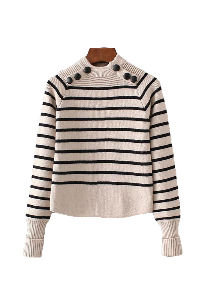 'Jovita' Stripe High Neck Sweater