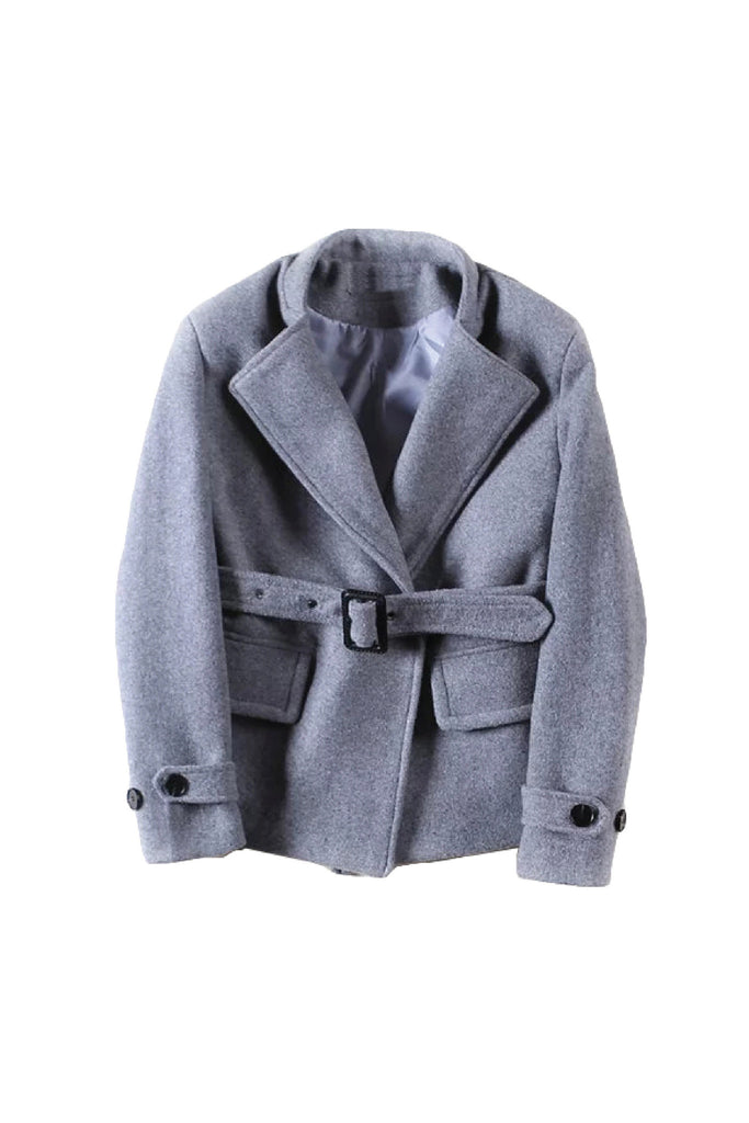 'Noa' Heather Gray Wool Blend Wrap Coat