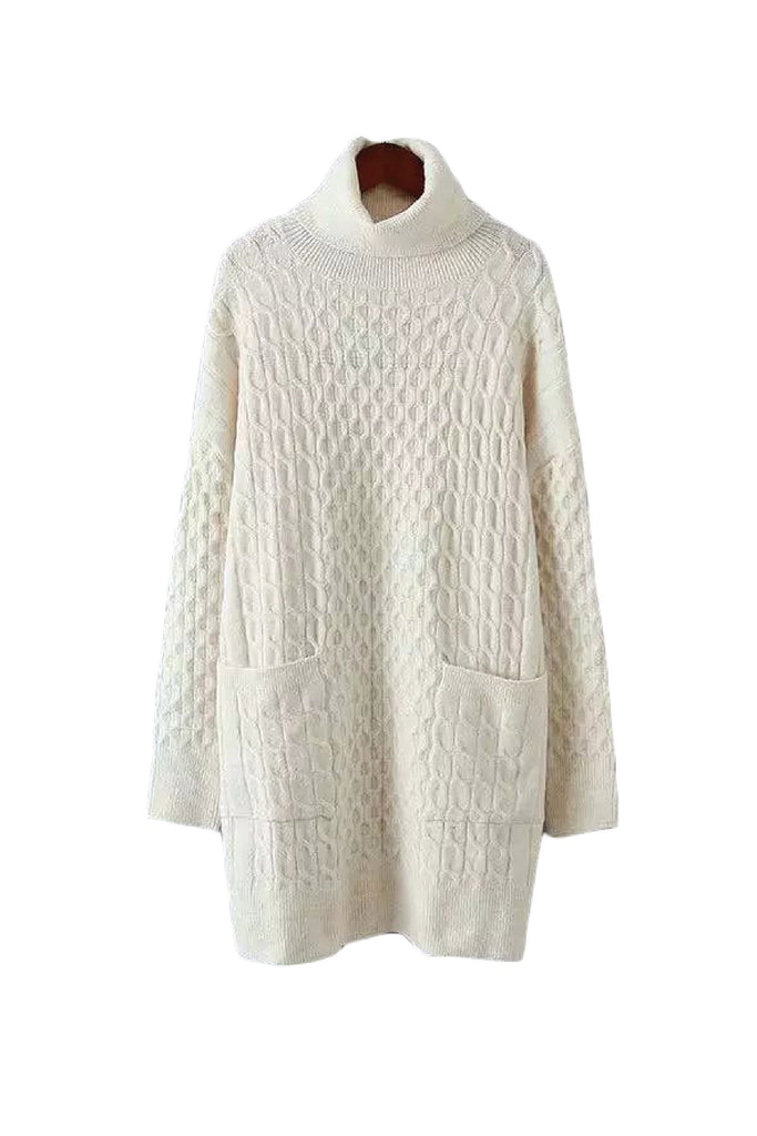 'Ina' Turtleneck Cream White Cable Knit Sweater