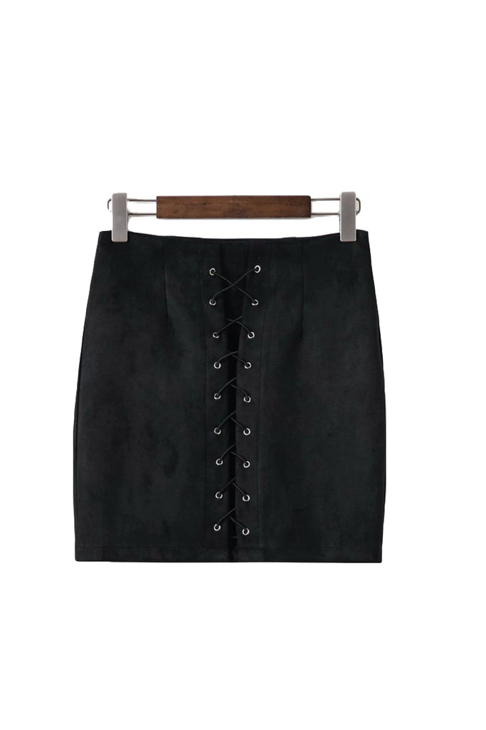 'Ania' Lace Up Suede Mini Pencil Skirt