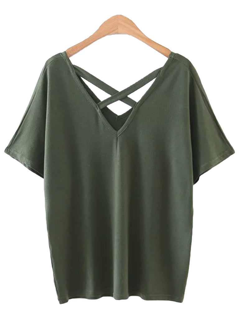 'Oliv' Front Criss Cross Top