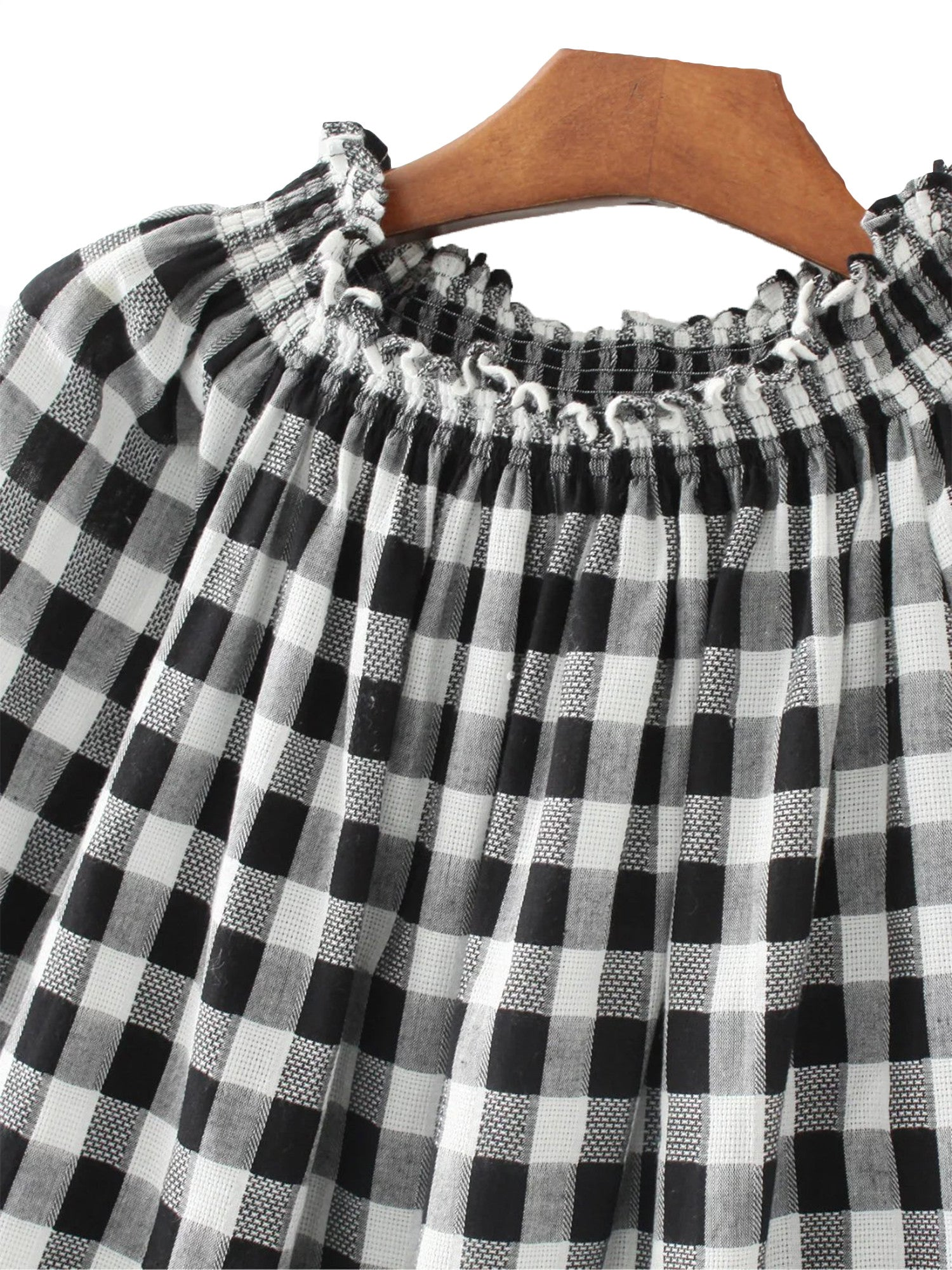 'Marleen' Gingham Off the Shoulder Bell Sleeved Top