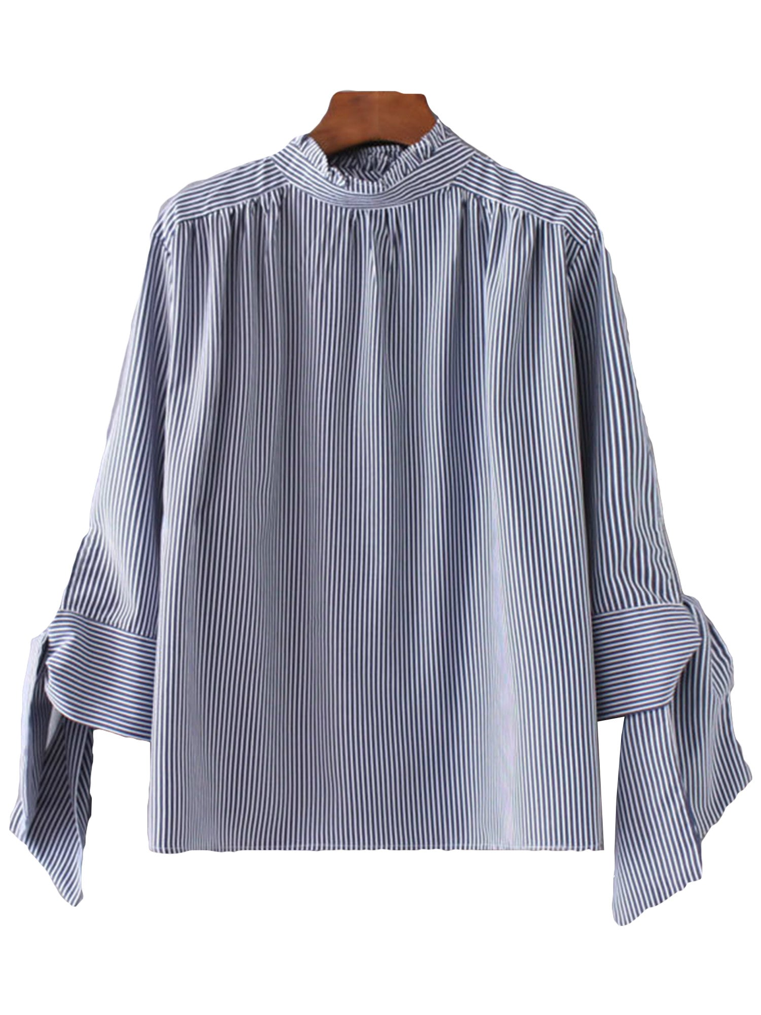 'Marissa' Blue Bow Sleeve Blouse