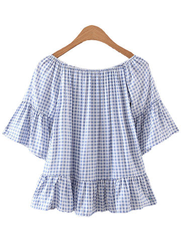 'Hunny' Plaid Off Shoulder Peplum Top