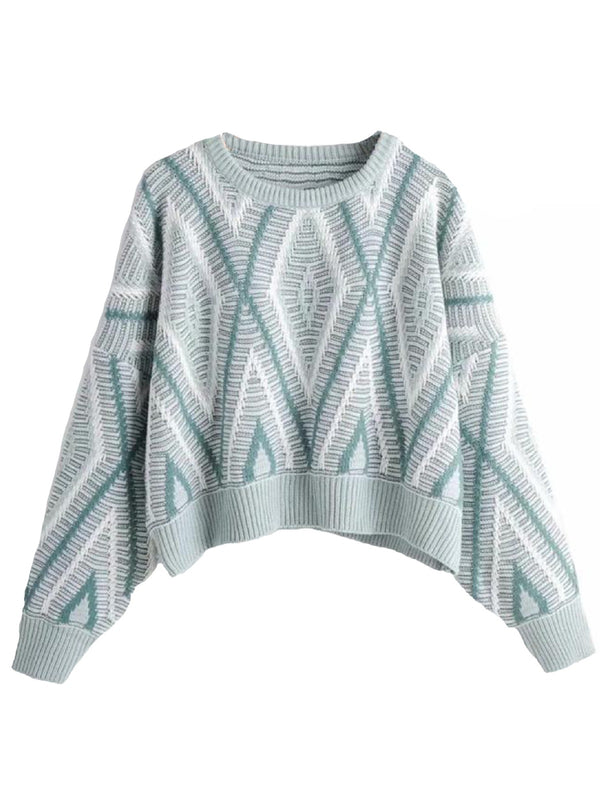 'Shannon' Crewneck Rhombus Cropped Sweater