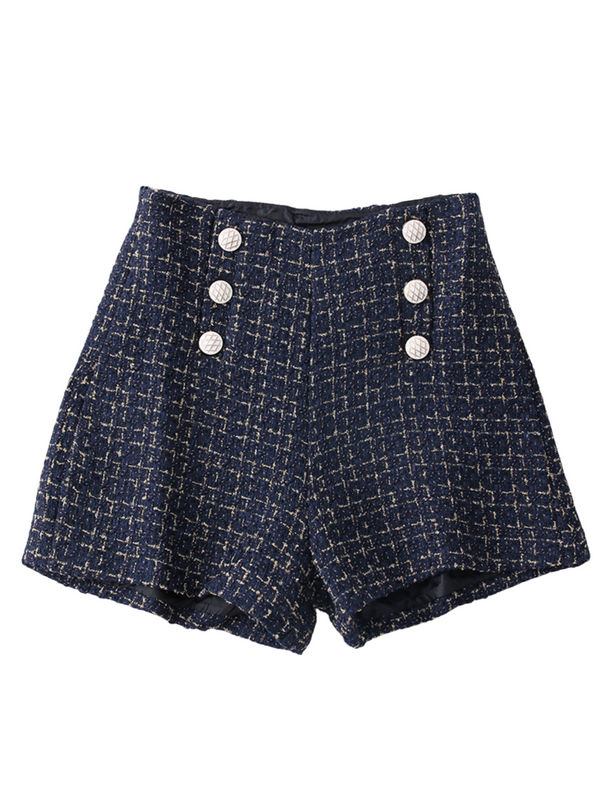 'Moon' Buttoned Tweed Shorts (4 Colors)