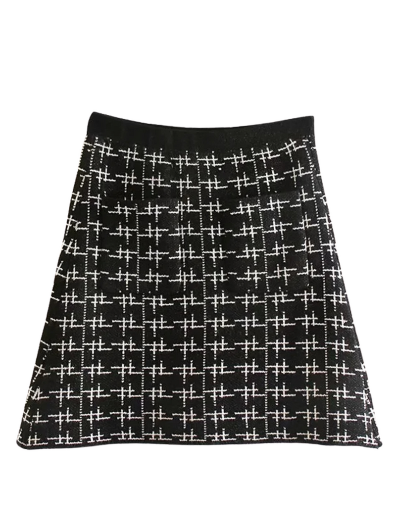 'Dany' Pattern Knitted Mini Skirt