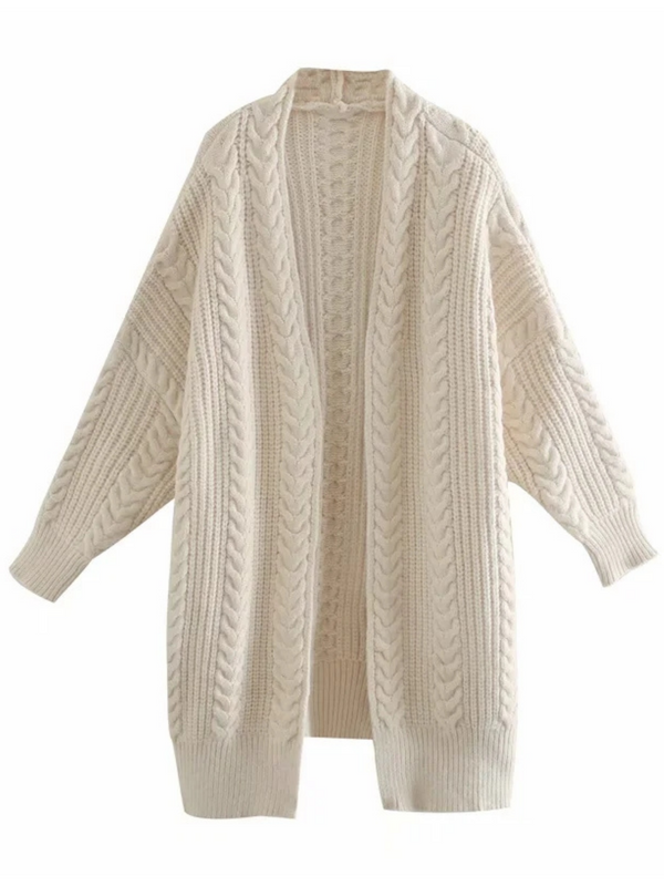 'Jolly' Cable-knit Open Cardigan (4 Colors)