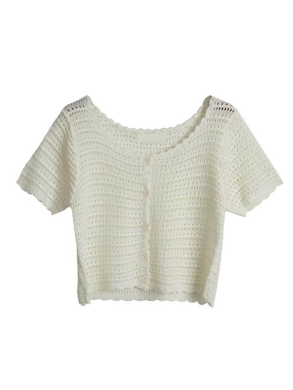 'Quince' Crochet Knitted Cropped Cardigan (4 Colors)