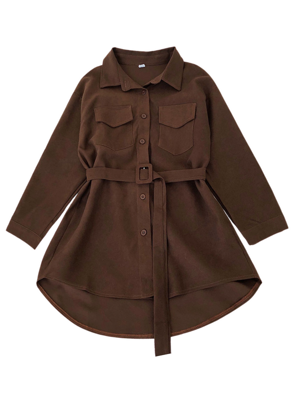 'Bailey' Corduroy Belted Long Shirt (4 Colors)