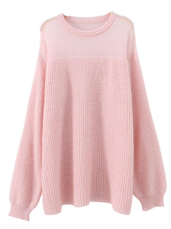'Annie' Half Sheer Slouchy Sweater (5 Colors)