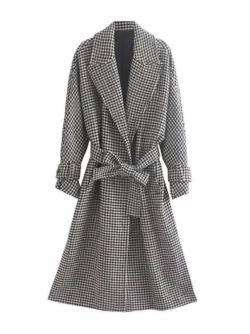 'Jorry' Houndstooth Belted Long Coat