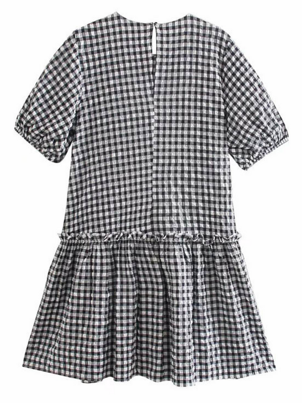 'Lauren' Seersucker Gingham Peplum Dress