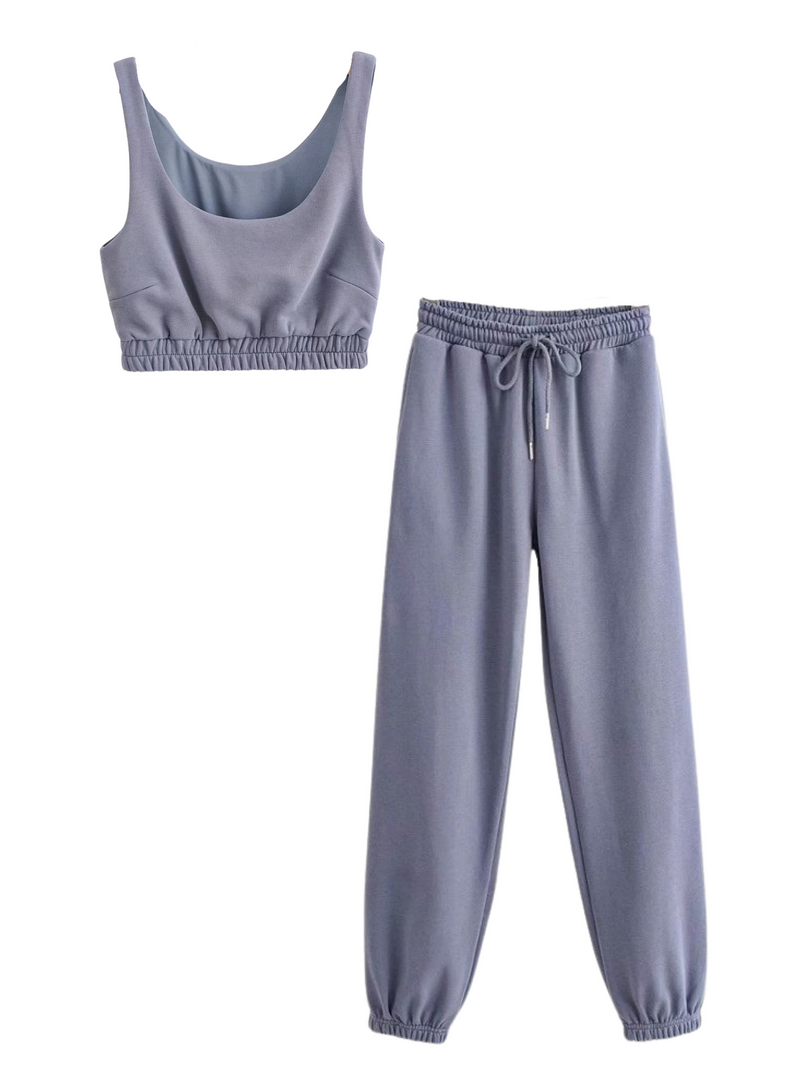 'Vengie' Cropped Top and Pants Two Piece Set (7 Colors)