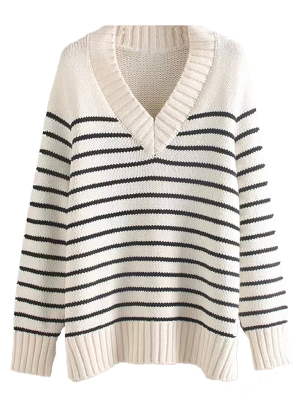 'Ponnie' Striped V-Neck Sweater