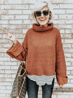Goodnight Macaroon 'Retta' Cognac Ribbed Cropped Turtleneck Sweater Blogger Front Half Body