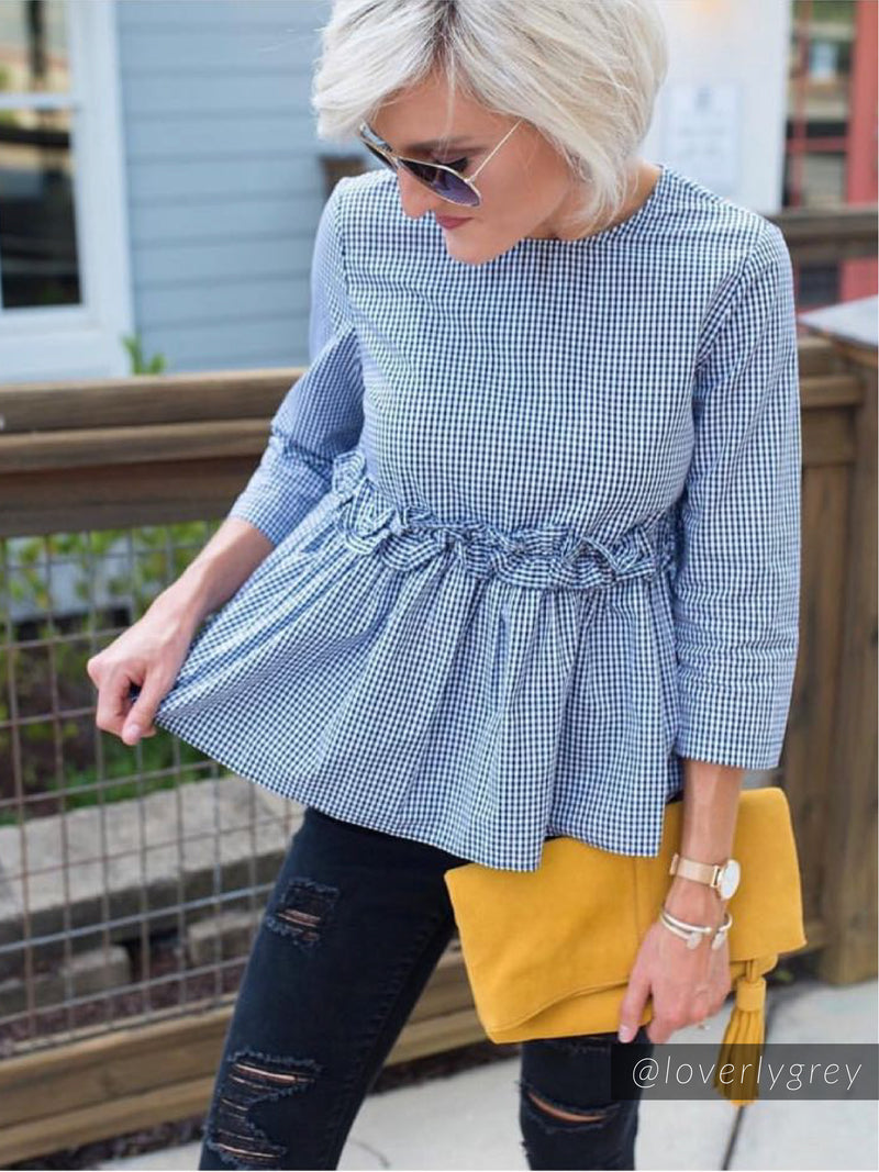 'Rowan' Gingham Frilly Peplum Dolly Top