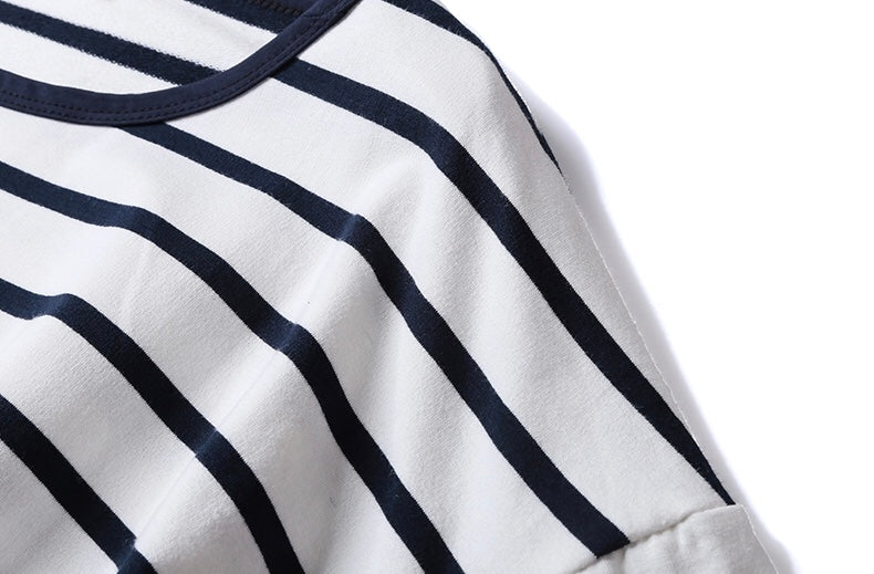 Goodnight Macaroon 'Tori' Striped Asymmetric Hem Long Sleeved T-Shirt White Shoulder