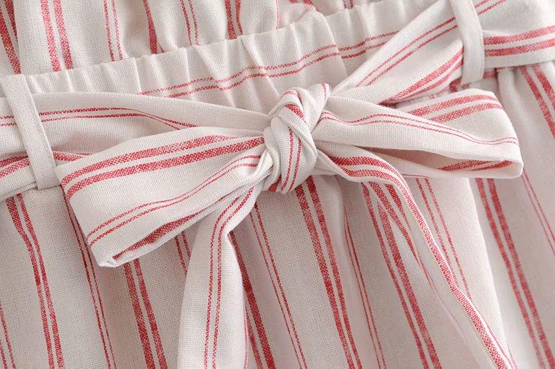 Goodnight Macaroon 'Caris' Red Striped Tied Paper Bag Skirt Waist