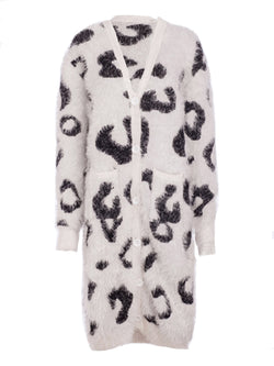'Benji' Leopard Print Long Fuzzy Cardigan (3 Colors)