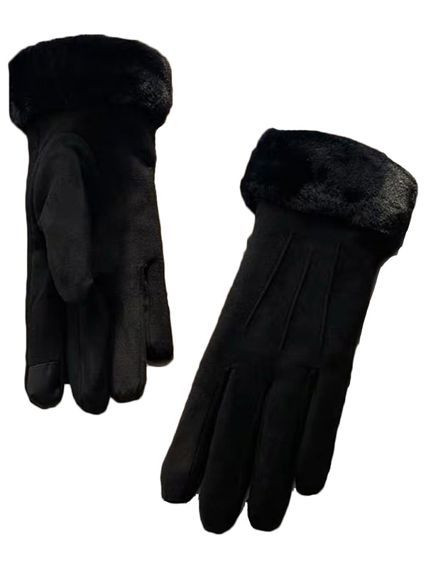'Magnolia' Faux Fur Suede Gloves with Smart Touch (4 Colors)