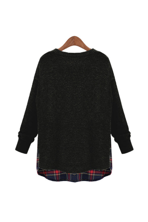 Black Side Slit Crewneck Red Plaid Sweater - Goodnight Macaroon