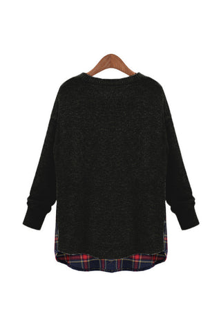 Black Side Slit Crewneck Red Plaid Sweater