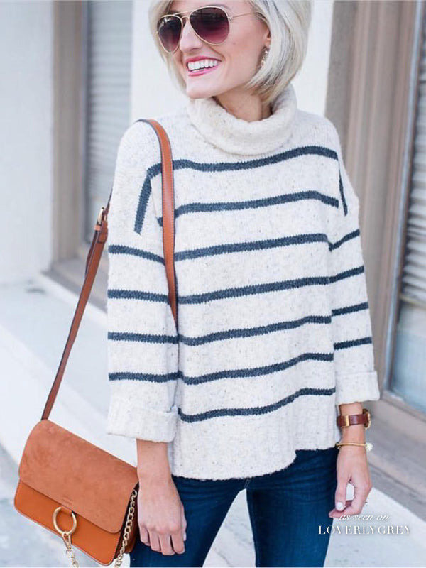 'Murphy' Striped Turtleneck Sweater (2 Colors)